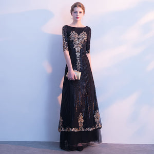 Black Gold Pattern Sequined Two Layer Mother Dresses