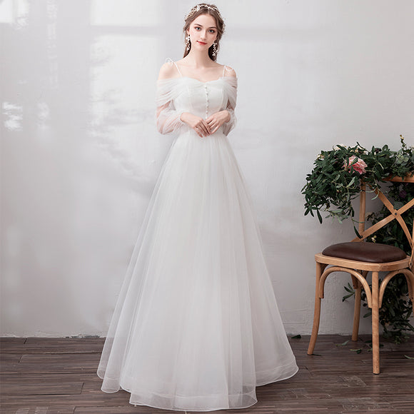 NZ Bridal Gauze Off The Shoulder Illushion Short Sleeves Simple A-line Dress Bridal Dress Bridesmaid Dress