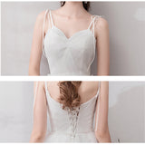 NZ Bridal Spaghetti Strap A Line Chiffon Long Backless Beach Wedding Gown Appliques Lace Top Bride Dress