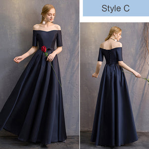Off the Shoulder Half Sleeves Satin Navy Blue Bridesmaid Dresses Mix Match Styles A Line Flared with Bow Tie Waistband- NZ Bridal