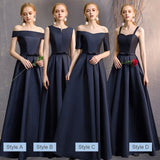 Off the Shoulder Satin Navy Blue Bridesmaid Dresses Mix Match Styles A Line Flared with Bow Tie Waistband- NZ Bridal