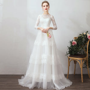 NZ Bridal Lovely Slash Neck Lace Dress Long Sleeves A-Line Winter Fashionabl Bridal Dress