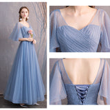 Illusion Sweetheart Neck Ruffle Sleeves Dusty Blue Bridesmaid Dresses Mix Match Dot Styles Dot A Line Gauze Bridesmaid Dresses- NZ Bridal