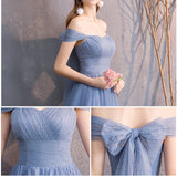 Sweetheart Neck Lace Up Straps Dusty Blue Bridesmaid Dresses Mix Match Dot Styles Dot Sweetheart Neck Lace Up Straps Dusty Blue Bridesmaid Dresses- NZ Bridal