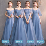Off the Shoulder Ruffle Dusty Blue Bridesmaid Dresses Mix Match Dot Styles Dot A Line Gauze Bridesmaid Dresses- NZ Bridal