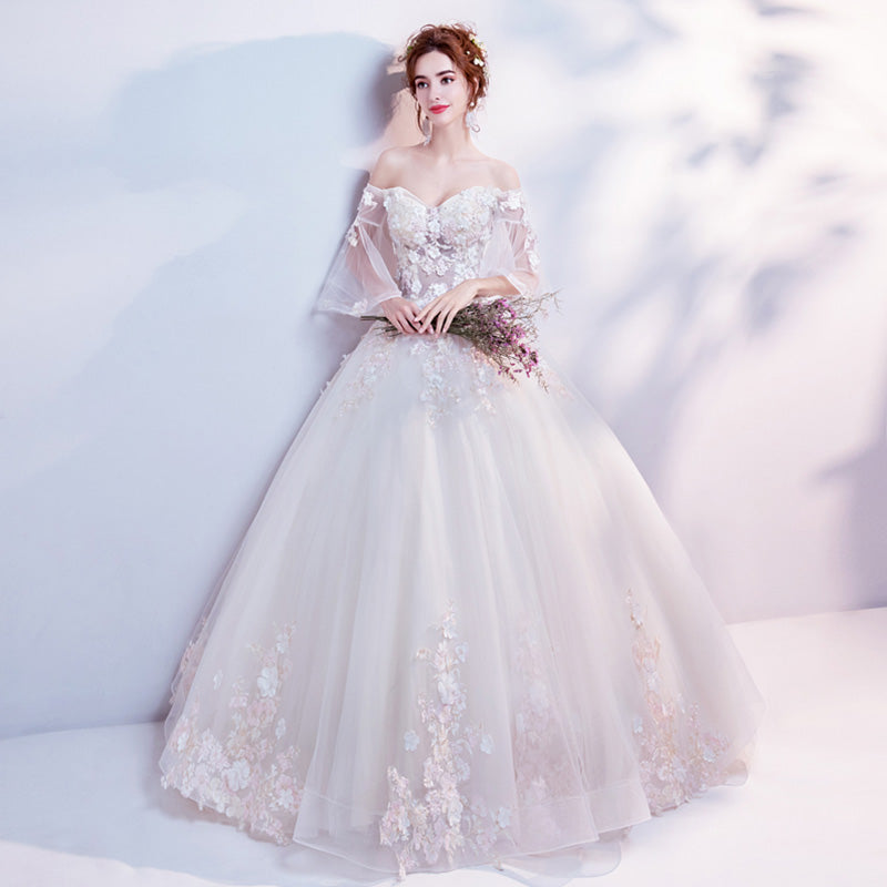 Flare Sleeves Off Shoulder Flower Winter Wedding Gown For Brides