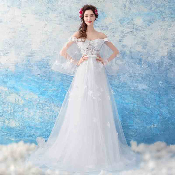 Butterfly Sleeves Off the Shoulder Garden Wedding Dress