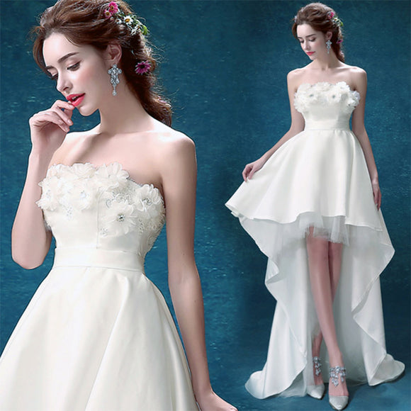 Simple Strapless Asymmetrical High Low Travel Lawn Wedding Dress