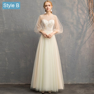 Illusion Sweetheart Champagne Bishop Sleeve Bridesmaid Dresses Mix Match Styles A Line Ivory Beige Lace Dresses- NZ Bridal