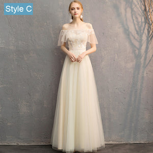 Illusion Slash Ruffle Champagne Lace Bridesmaid Dresses Mix Match Styles A Line Ivory Beige Dresses- NZ Bridal
