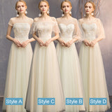 Illusion Slash Champagne Lace Bridesmaid Dresses Mix Match Styles A Line Ivory Beige Dresses- NZ Bridal