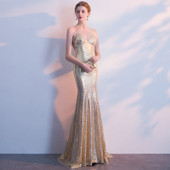 NzBridal Gold Spaghetti Straps Sparkling Evening Night Dress