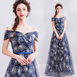 Indigo Off-The-Shoulder Short Sleeve Fireworks Sequin Ball Gown