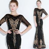 Noble Gold Pattern Sequined Mermaid Mother of the Bride Dresses