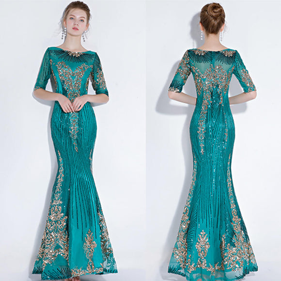 Green Noble Gold Pattern Sequined Mermaid Mother of the Bride Dresses
