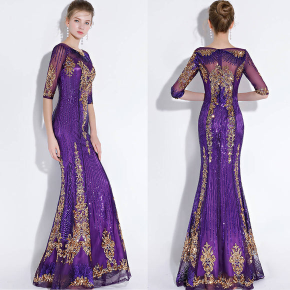 Purple Noble Gold Pattern Sequined Mermaid Mother of the Bride Dresses