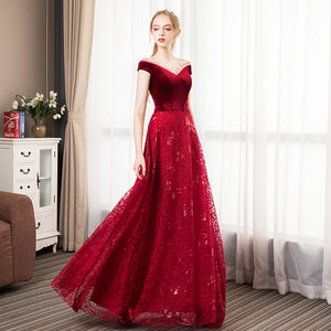 NZ Bridal Burgundy Velvet Illusion Neckline Short Sleeve A-line Lace Ball Gown Wedding Dresses