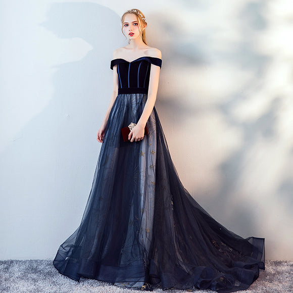 NZ Bridlal Off The Shoulder Lapel Velvet Navy Blue Tulle Skirt Winter Ball Gown With Sequin Lining