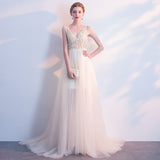 NZBridal Beige Luxury Heavy Beaded Plunging V Cut Prom Gown