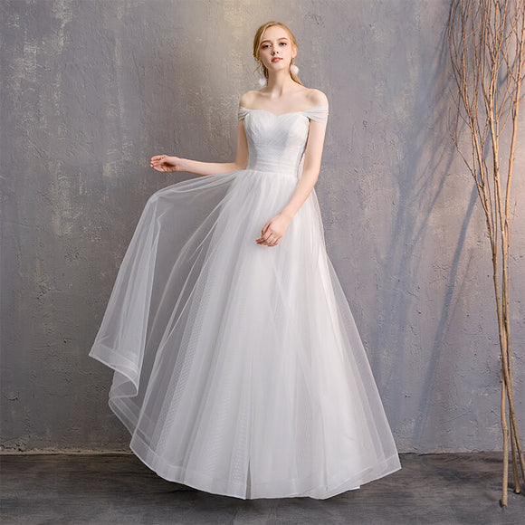 White Convertible Soft Tulle Bow Tie Bridal Dress Bridesmaid Dresses