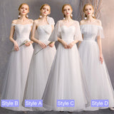 Dotted White Off The Shoulder Ruffle Sleeves Bridal Dress Bridesmaid Dresses