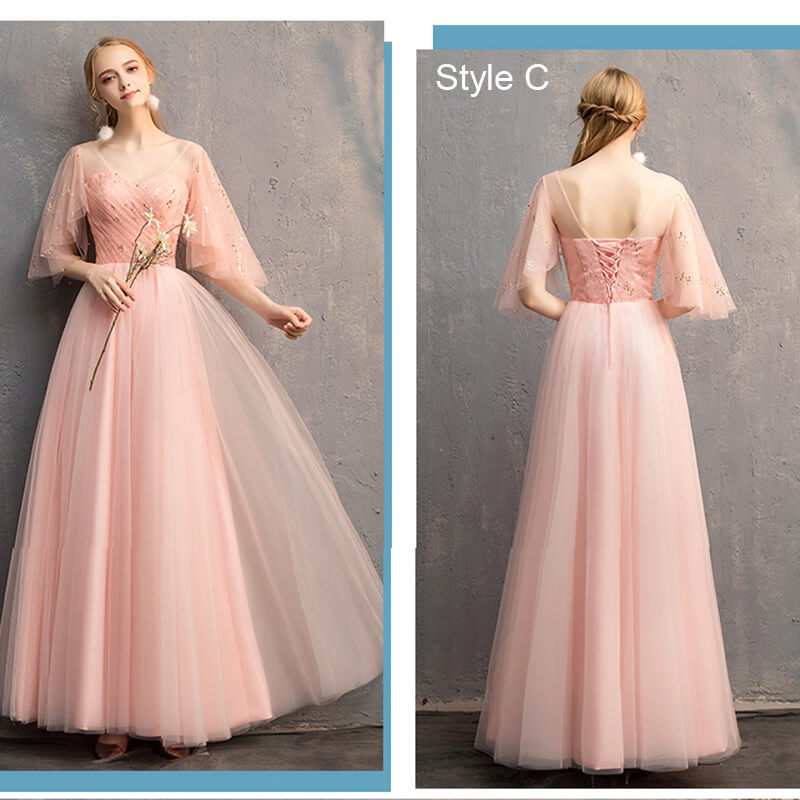 Peach Sweetheart Butterfly Sleeves Mix Matched Bridesmaid Dresses