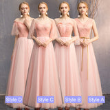 Peach Off The Shoulder Sleeves Wedding Bridesmaid Dresses