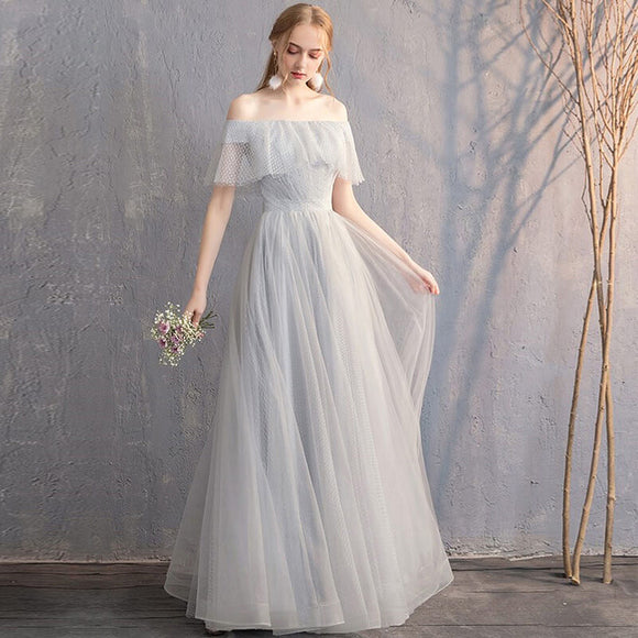 Silver Grey Off The Shoulder Ruffle Sleeves Wedding Bridesmaid Dresses