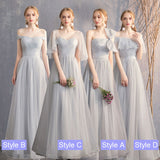 Silver Grey Dotted Soft Tulle Bow Tie Bridesmaid Dresses