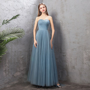NZ Bridal Sweetheart Neckline Sleeveless Dusty Blue Bridesmaid Dresses Variety Bow Tie A Line Gauze Bridesmaid Dresses- NZ Bridal