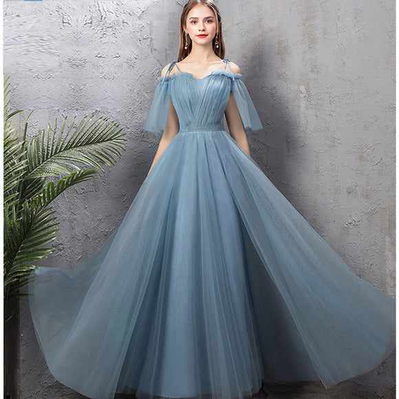 NZ Bridal Illusion Sweetheart Neck Sling Ruffle Sleeves Dusty Blue Bridesmaid Dresses Mix Match Dot Styles Dot A Line Gauze Bridesmaid Dresses- NZ Bridal