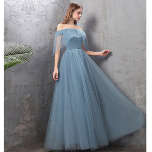 NZ Bridal Off the Shoulder Straps Ruffle Dusty Blue Bridesmaid Dresses Mix Match Dot Styles Dot A Line Gauze Bridesmaid Dresses- NZ Bridal