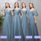 NZ Bridal Illusion Sweetheart Neck Ruffle Sleeves Dusty Blue Bridesmaid Dresses A Line Gauze Bridesmaid Dresses- NZ Bridal