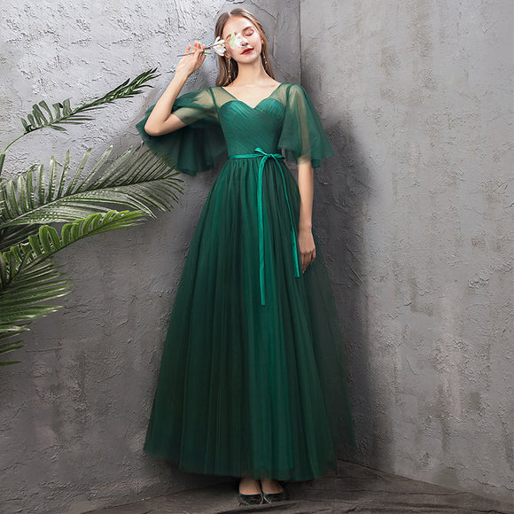 NZ Bridal Illusion Sweetheart Neck Ruffle Sleeves Green Emerald Bridesmaid Dresses Cute Bow Tie A Line Gauze Bridesmaid Dresses- NZ Bridal
