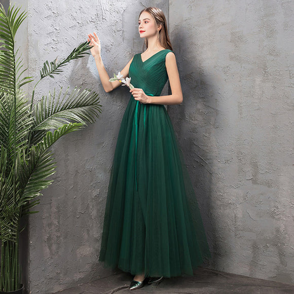 NZ Bridal V-Neckline Sleeveless Green Emerald Bridesmaid Dresses Cute Bow Tie A Line Gauze Bridesmaid Dresses- NZ Bridal