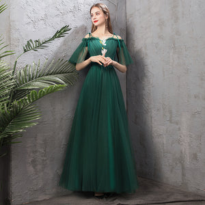 NZ Bridal Illusion Sweetheart Neck Sling Ruffle Sleeves Green Emerald Bridesmaid Dresses Mix Match Dot Styles Dot A Line Gauze Bridesmaid Dresses- NZ Bridal
