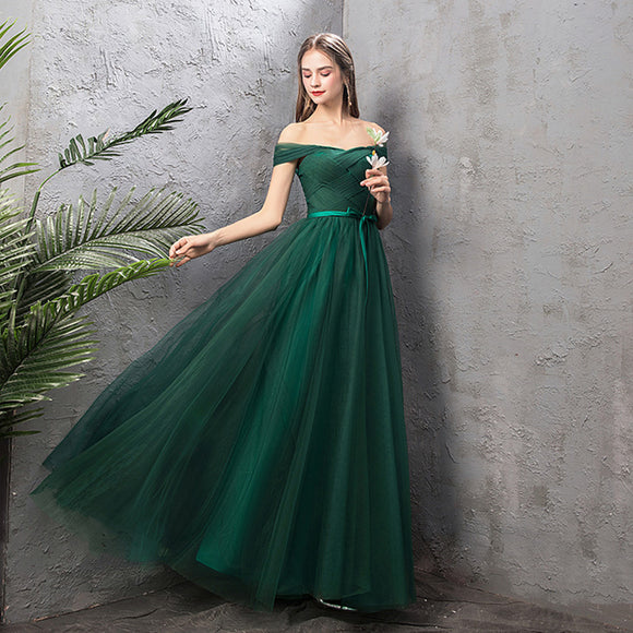 NZ Bridal Off the Shoulder Short Sleeves Green Emerald Bridesmaid Dresses Mix Match Dot Styles Dot  A Line Gauze Bridesmaid Dresses- NZ Bridal
