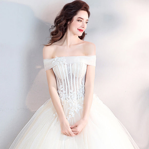 Luxury Illusion Crystal Beaded Wedding Bridal Gown