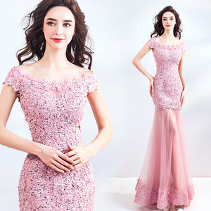 Sexy See Through Skirt Rose Pink Lace Mermaid Wedding Guest Formal Dress