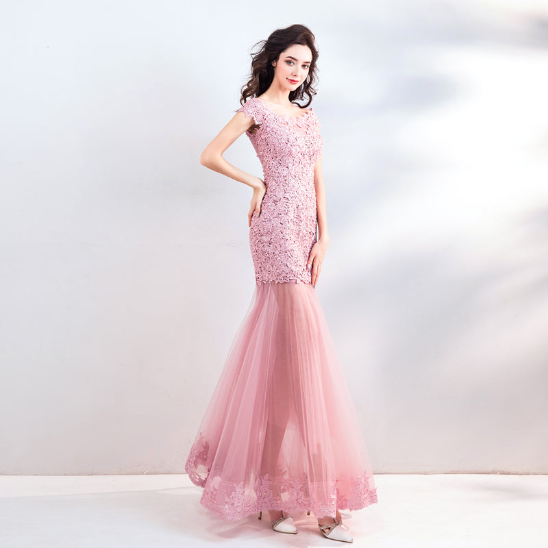 Sexy See Through Skirt Rose Pink Lace Mermaid Wedding Guest Formal
