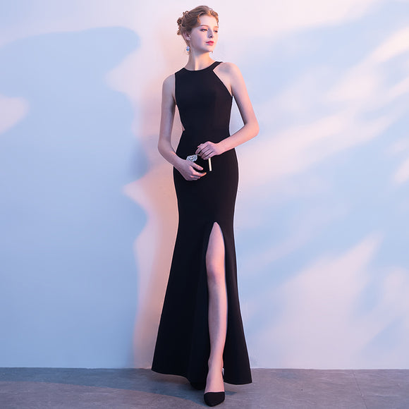 Black Cut Out Asymmetrical Neck Halter Slim Semi Prom Dress