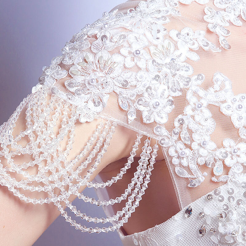 High Collar Crystals Tassels Cap Sleeves Wedding Bridal Gown