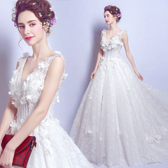 Fantastic V Cut Overlace Flowers Dotted Bridal Wedding Ball Gown