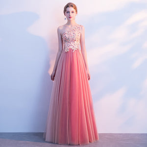 Pink Gauze One Shoulder Embroidery Pearls Formal Evening Dress