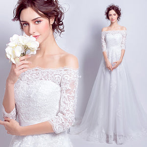Lash Lace Slash Neck Half Sleeves Flowing Bridal Wedding Dress with Train