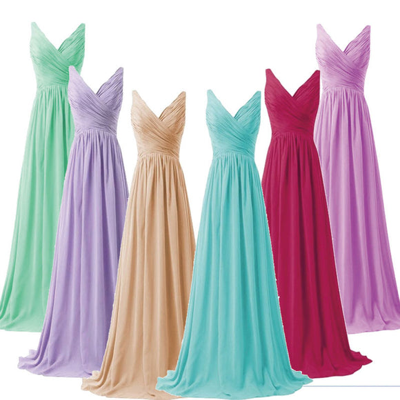 V-neckline Sleeveless High Waist Chiffon Bridesmaid Dress