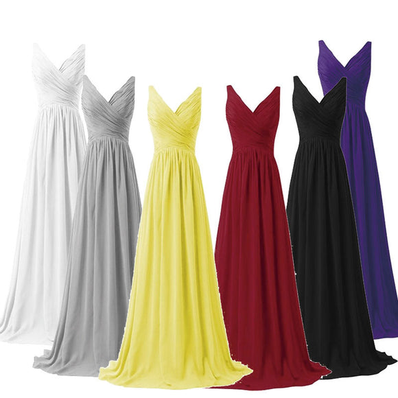 Sleeveless V-neckline Chiffon High Waist Bridesmaid Dress