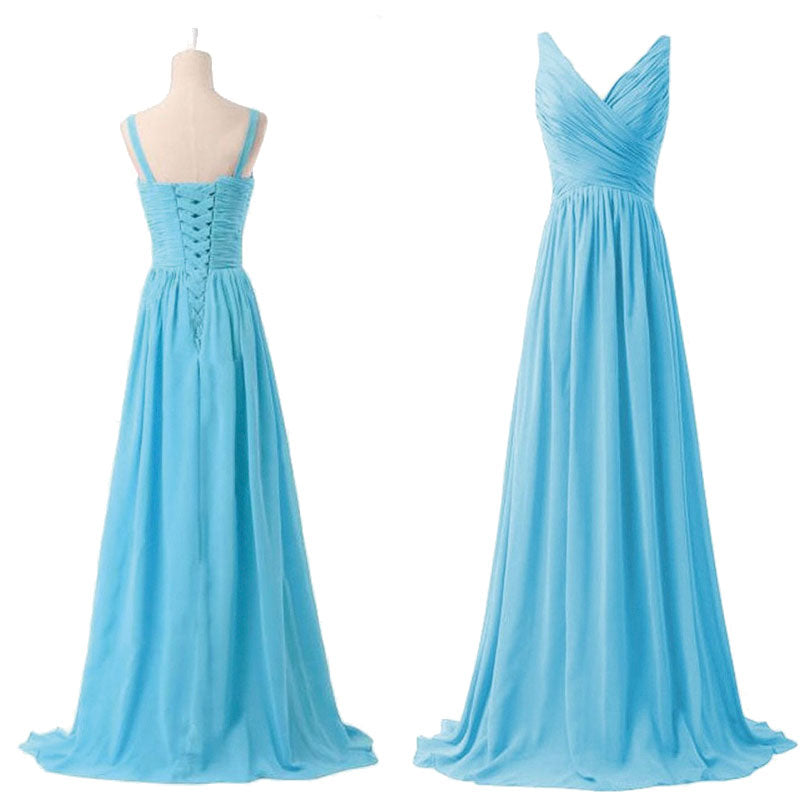 Sleeveless V-neckline High Waist Chiffon Bridesmaid Dress