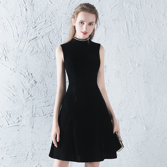 Elegant High Collar Strapless Mini Chanel Style Little Black Dress
