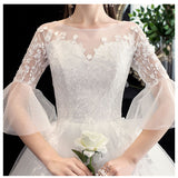 White Lace Flower Trumpet Sleeves Wedding Gown